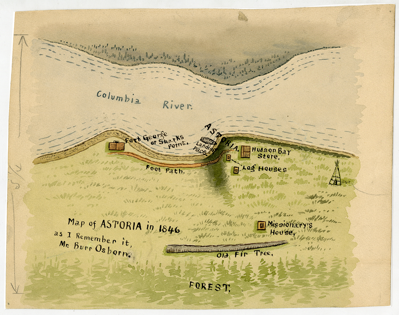 Map Of Astoria 1846 The Maker Of This Map Burr Osborn Survived The 1846 Wreck Of The Shark A U S Navy Schooner In The Dangerous Waters Of The