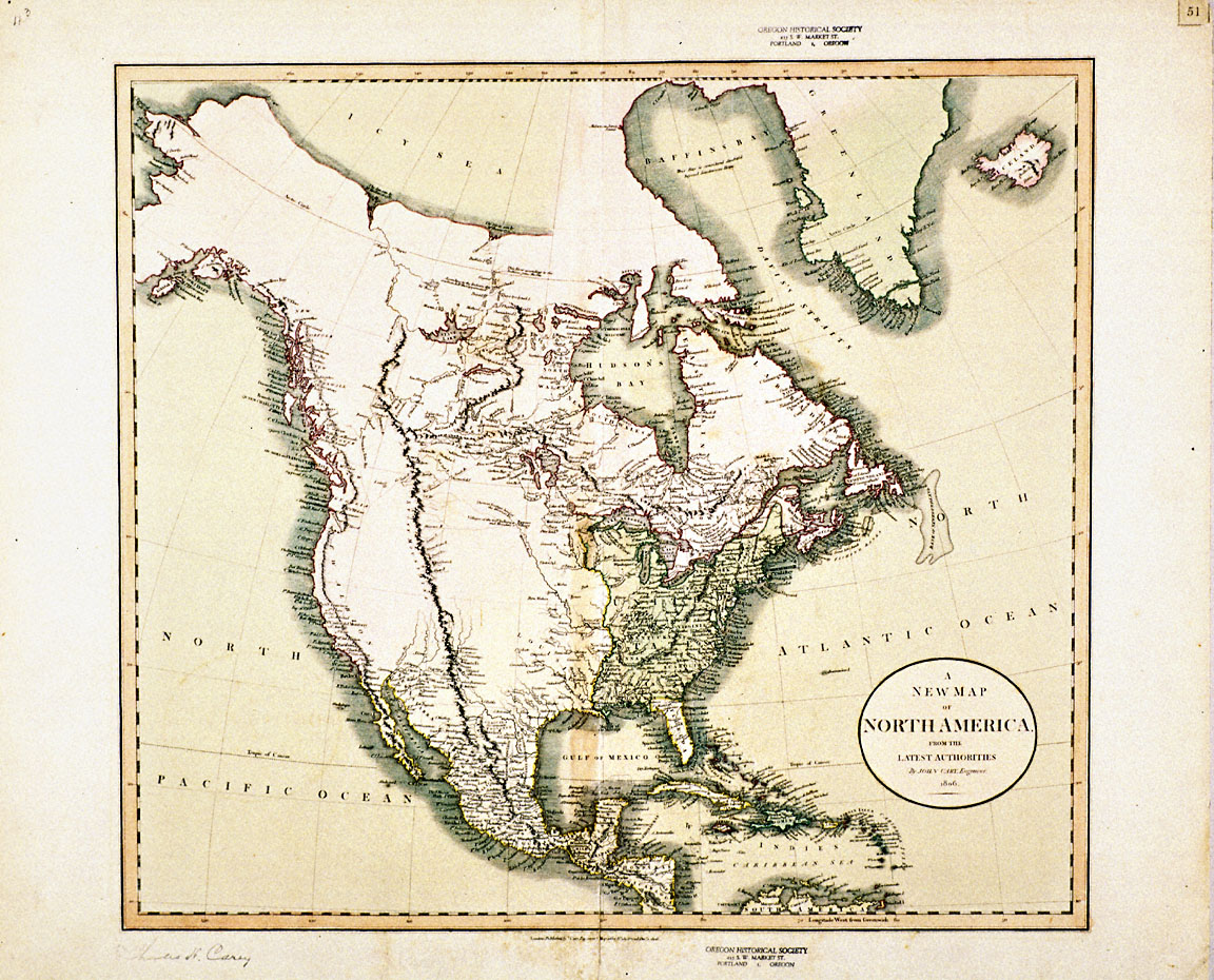 New Map Of North America 1806