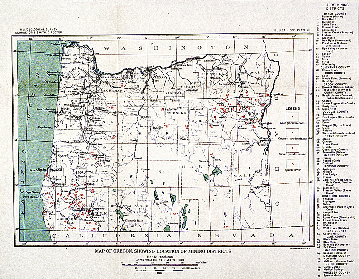 Gold In Oregon Map.Oregon Mining Districts