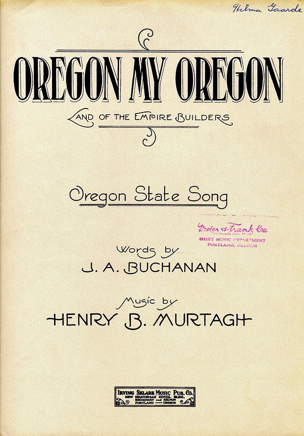 All Music Chords portland sheet music : Sheet Music Cover, Oregon, My Oregon